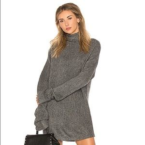 LOVERS + FRIENDS •Gray Cowl Neck Sweater Dress•